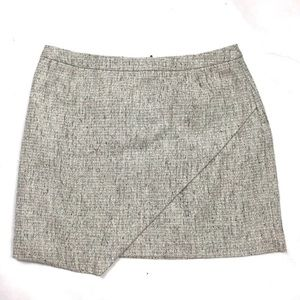 ASYMMETRICAL METALLIC TWEED MINI SKIRT